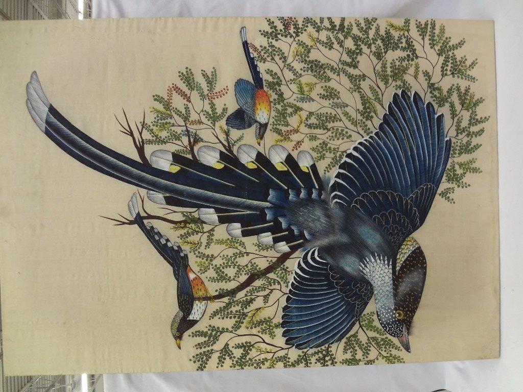 Silkscreen of 3 Birds of Paradise on Silk