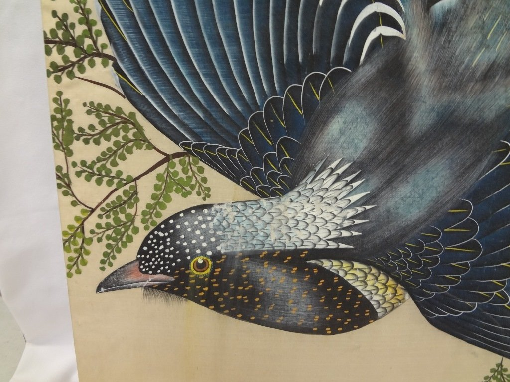 Silkscreen of 3 Birds of Paradise on Silk - 2