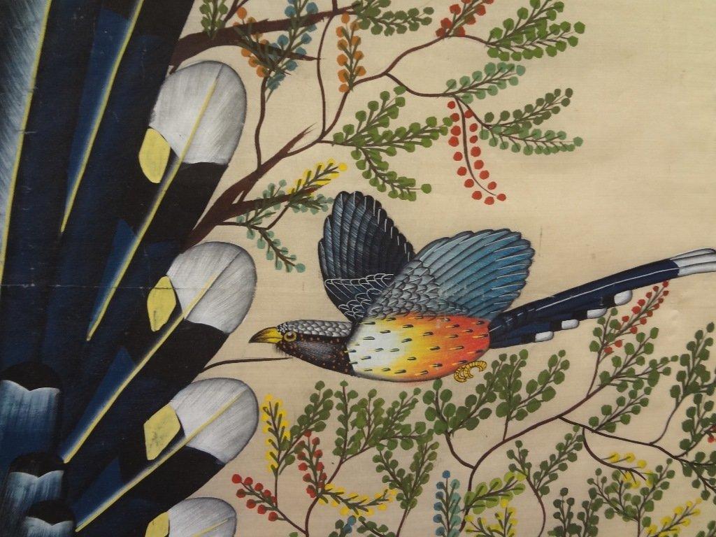 Silkscreen of 3 Birds of Paradise on Silk - 3