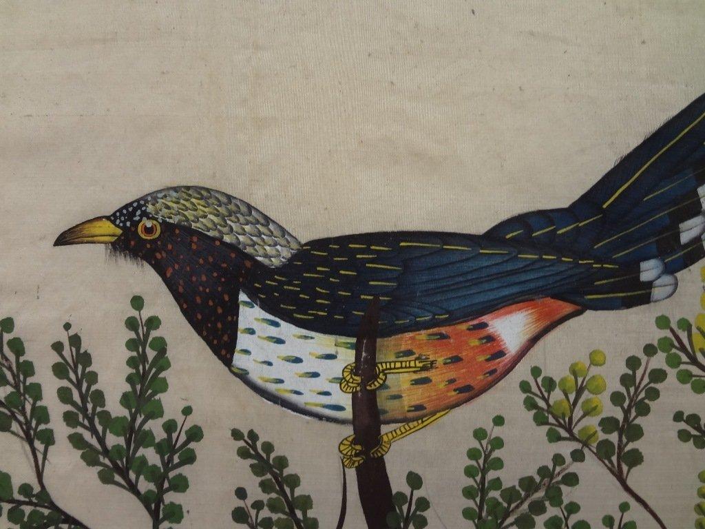 Silkscreen of 3 Birds of Paradise on Silk - 4