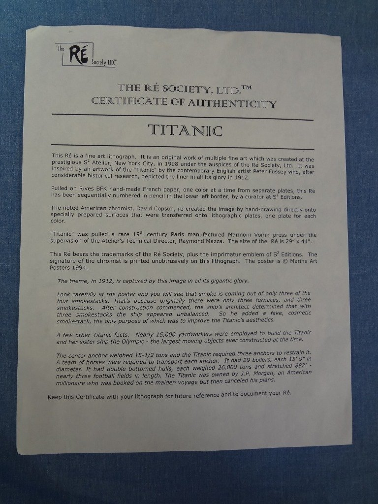 Titanic Large Framed Lithograph from The Re Society on - 5