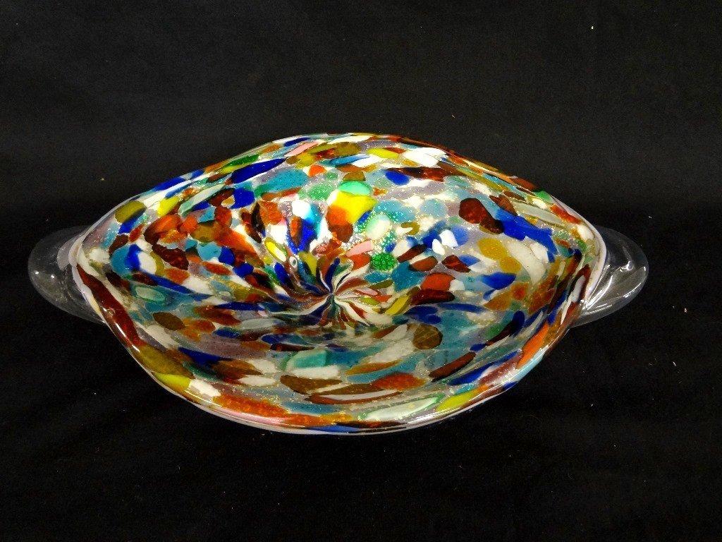 Murano Art Glass Multi Colored Dish Original Sticker on