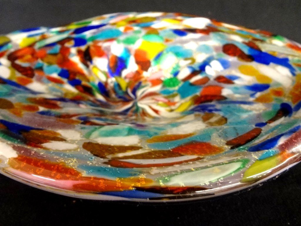 Murano Art Glass Multi Colored Dish Original Sticker on - 2