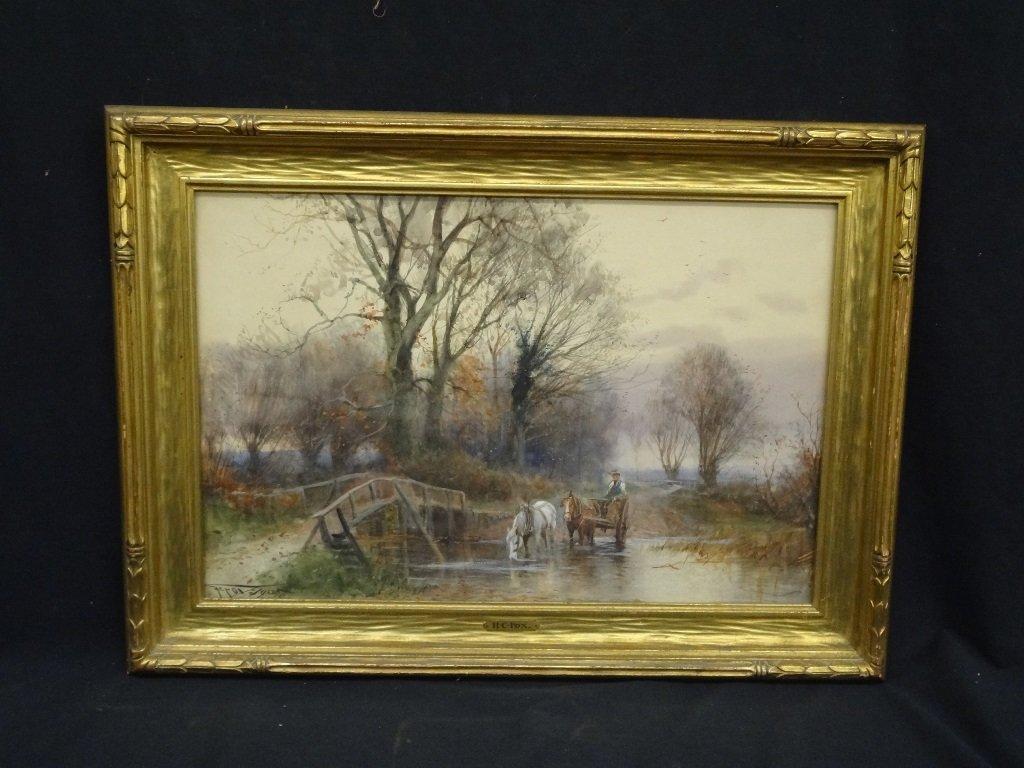H.C. Fox Watercolor on Paper Rural Landscape 25.5 x