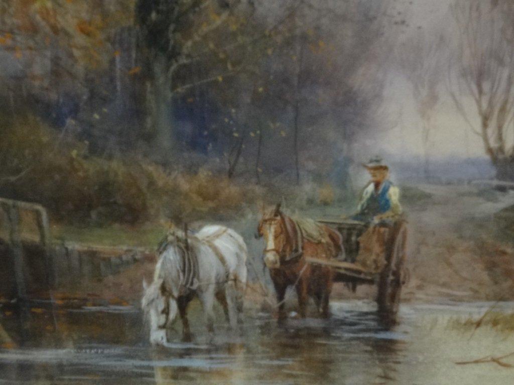 H.C. Fox Watercolor on Paper Rural Landscape 25.5 x - 4