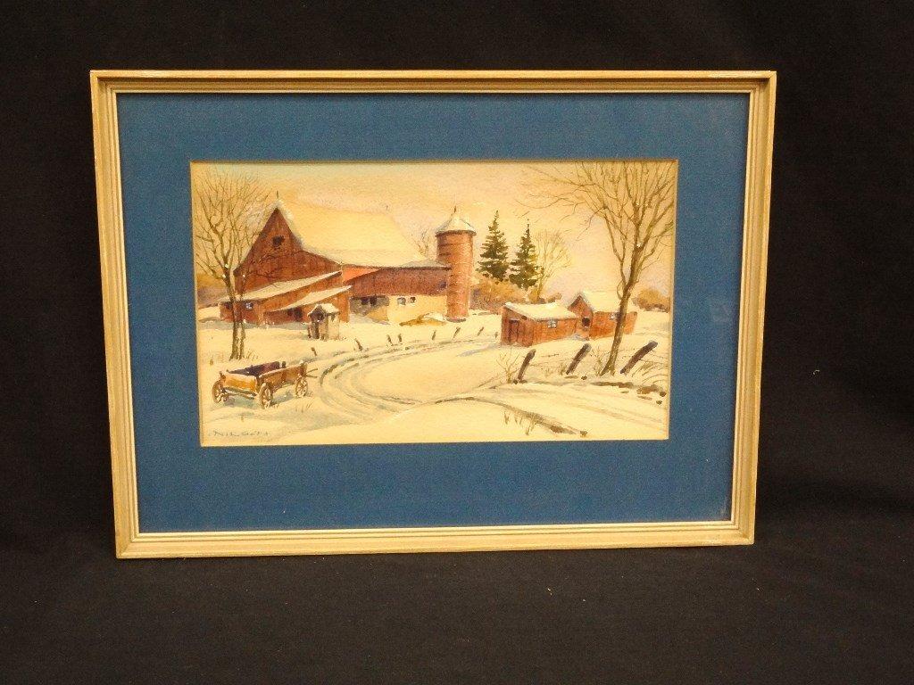 Gustav Nilson Landscape Watercolor Barn Winter Scene