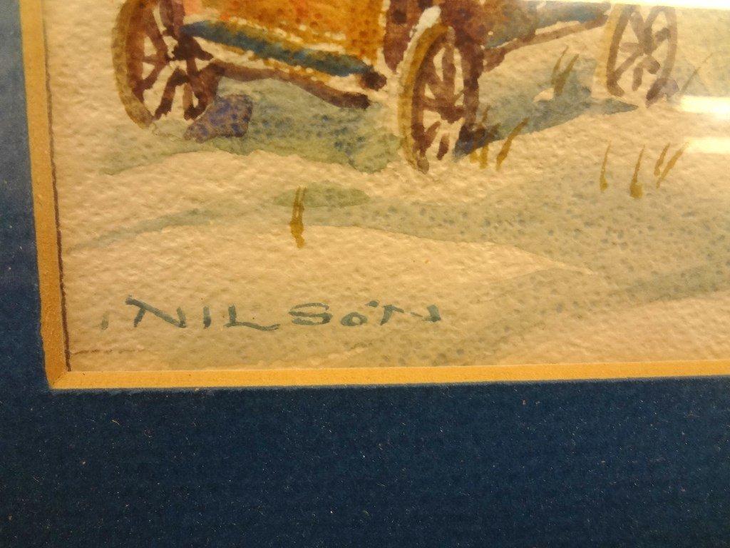 Gustav Nilson Landscape Watercolor Barn Winter Scene - 2