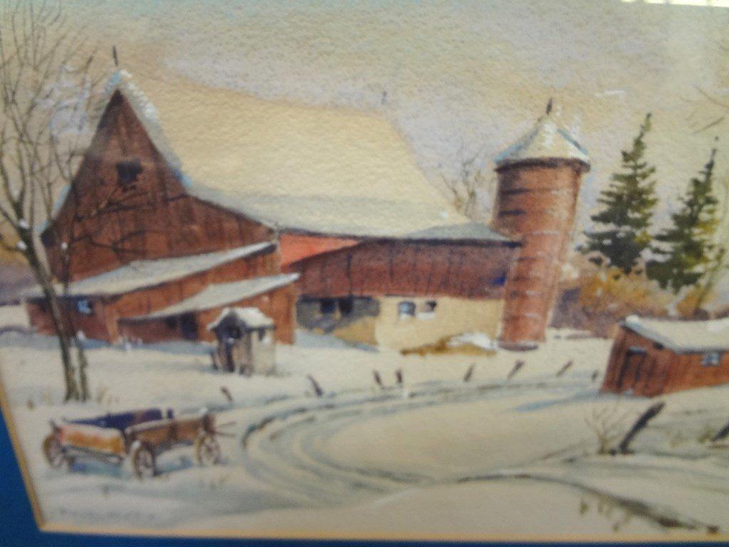 Gustav Nilson Landscape Watercolor Barn Winter Scene - 3
