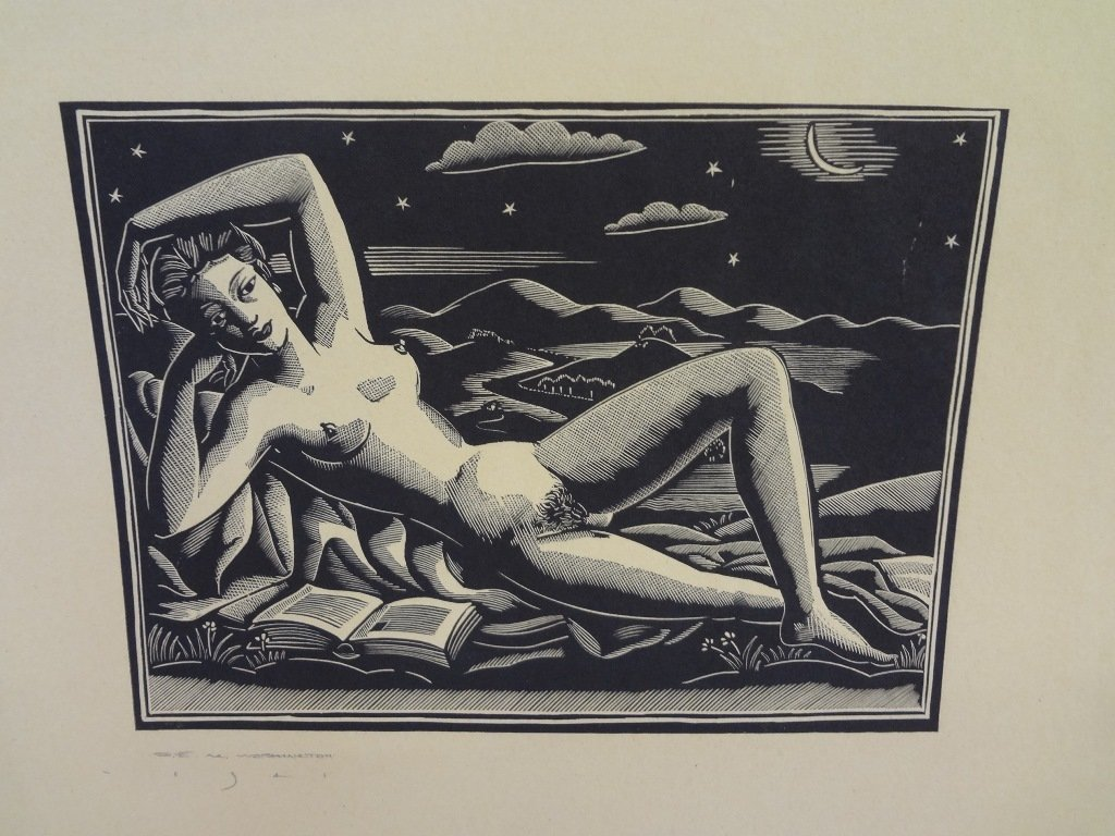 "Earl Marshawn Washington Woodblock Print ""Nude"""