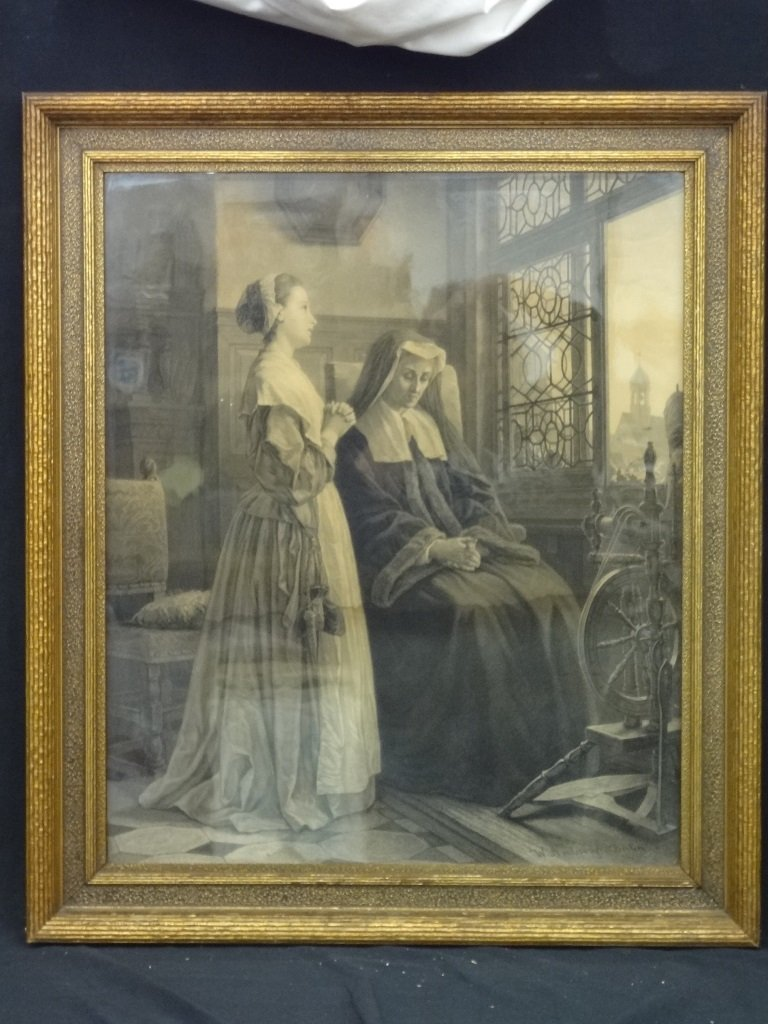 Large Engraving of an original painting by W. Amberg