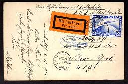 1928 Graf Zeppelin Real Photo Postcard wZeppelin Stamp