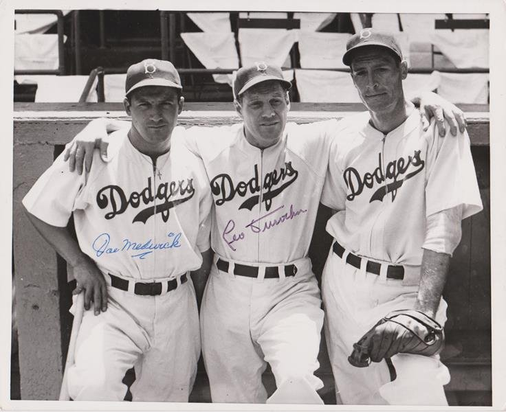 1940 Joe Medwick and Leo Durocher Autographed 8x10