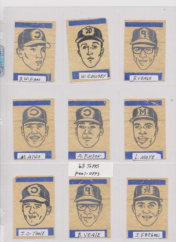 1963 Topps Peel-Offs Baseball Cards. (40+) w Stars