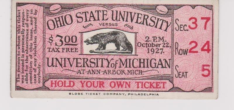 1927 Ohio State vs. University of Michigan Football