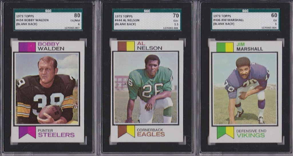 "Lot of (3) 1973 Topps Football ""Blank Backs"" Graded by"