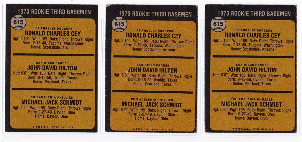 Lot of (3) 1973 Topps #615 Mike Schmidt Rookie Cards - 2