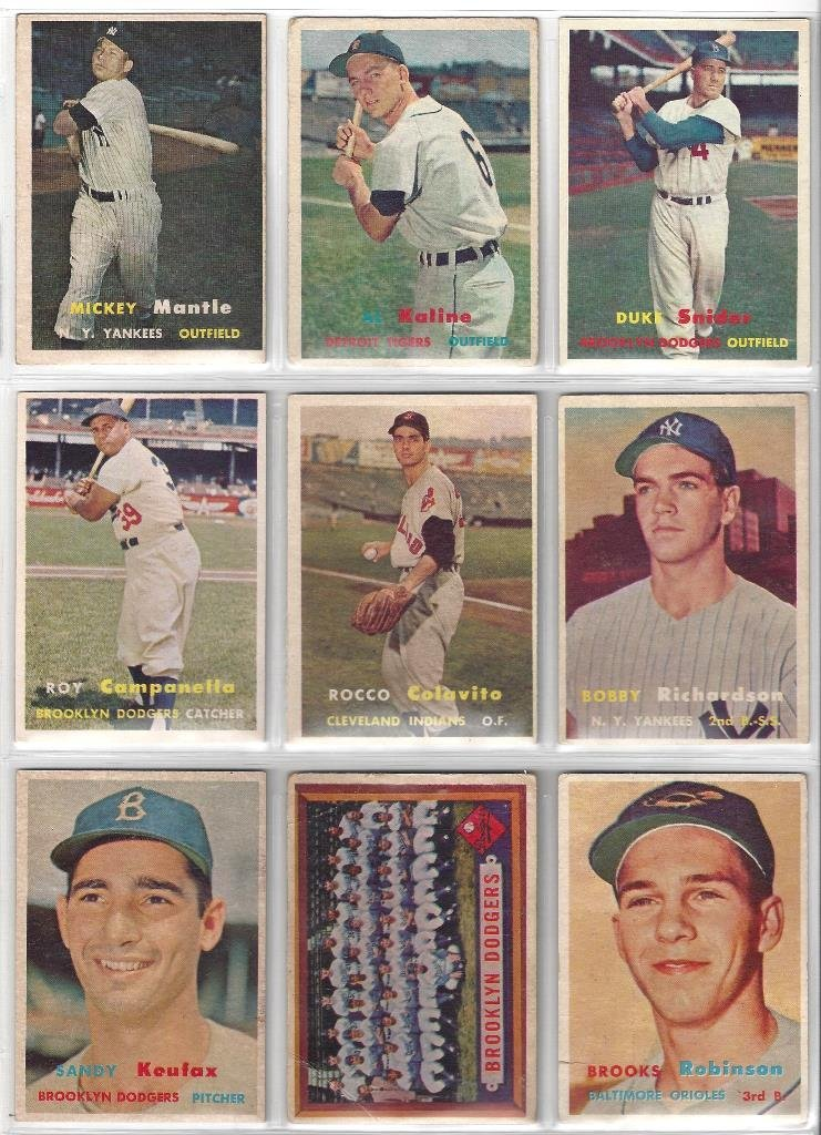1957 Topps Baseball Card Partial Set w Tons of Stars, - 2