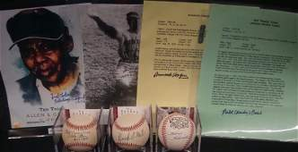 Negro League Lot of Autographed Photos and Baseballs