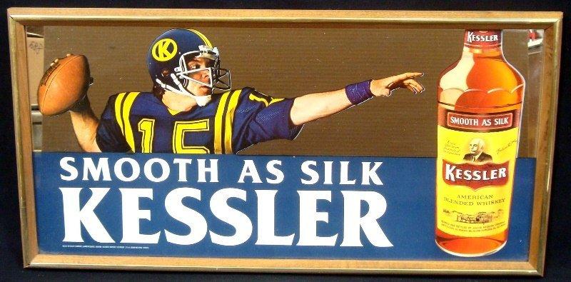 Kessler Whiskey Advertising Football Themed Mirror