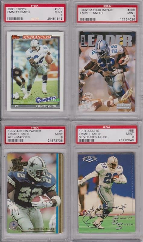 Emmitt Smith PSA Graded Card Lot of (8) Cards
