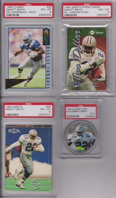 Emmitt Smith PSA Graded Card Lot of (8) Cards - 2