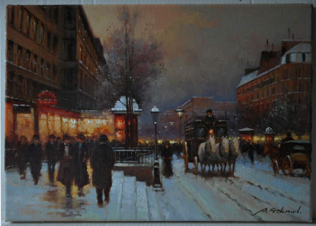 Yuri Kuzmin, (Russian b 1949) Oil Paris Boulevard
