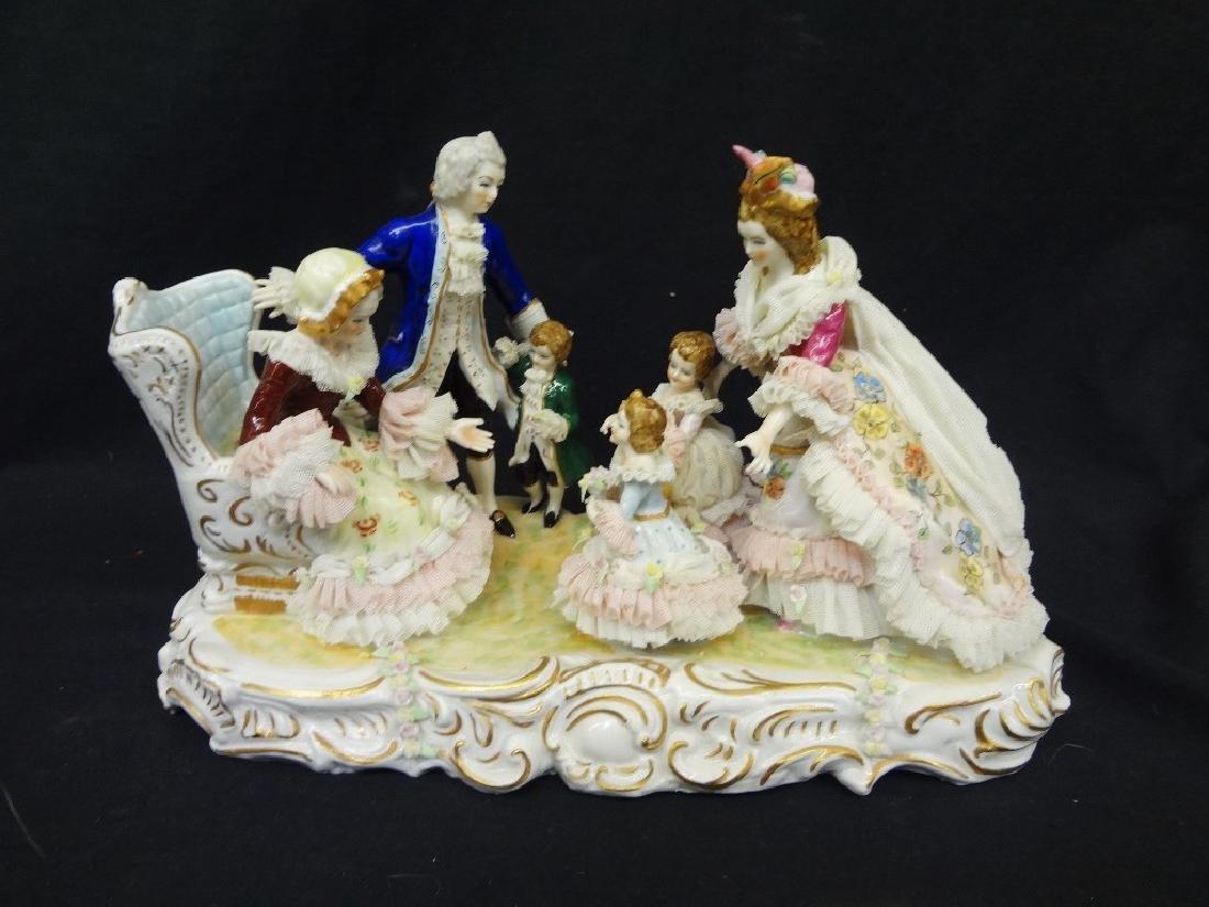 Dresden German Porcelain Figural Group Large Hand