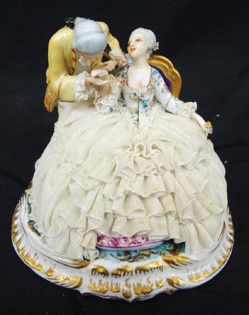 Luigi Fabris Italian Porcelain Figural Group Lady and