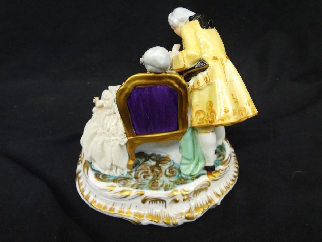 Luigi Fabris Italian Porcelain Figural Group Lady and - 4