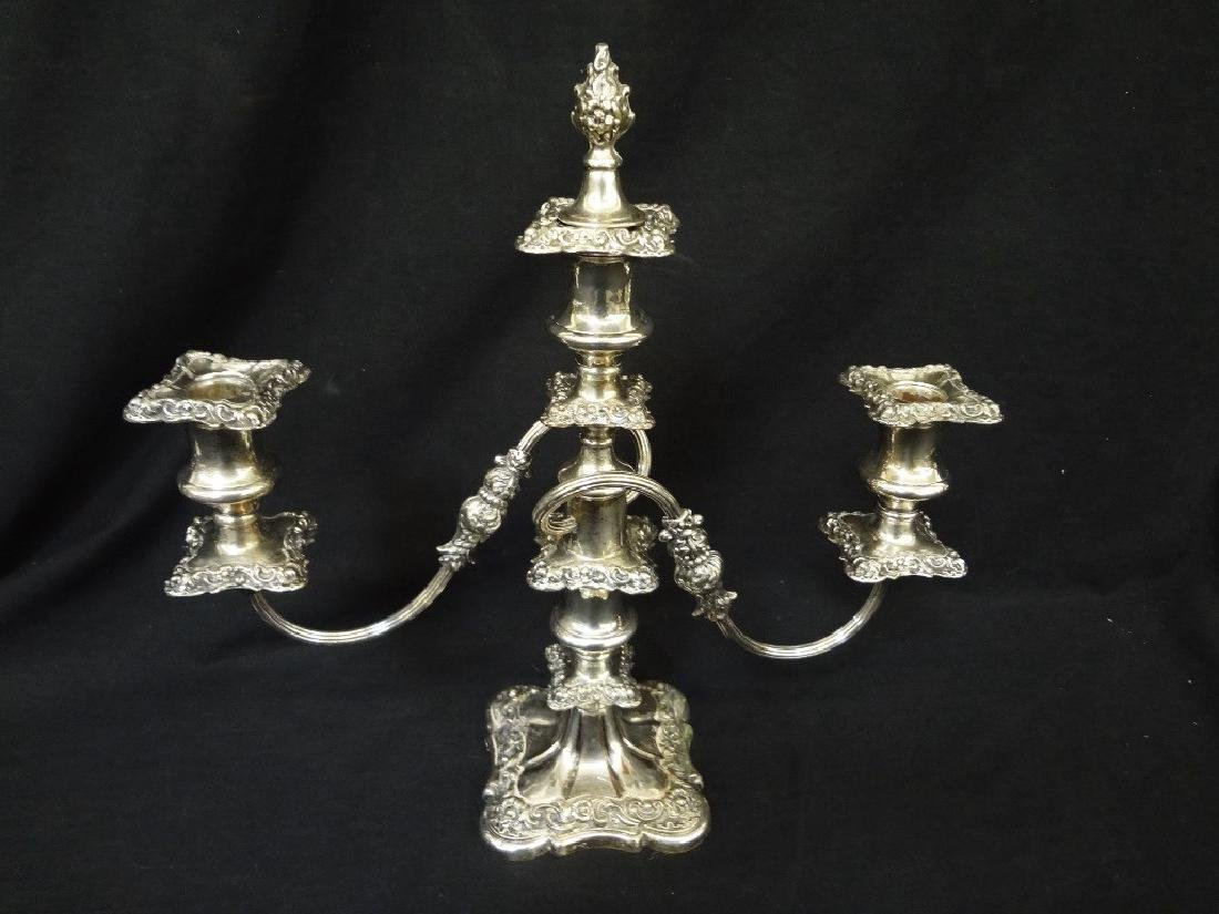 Pair of Ornate Silver plated Copper Candelabras - 2