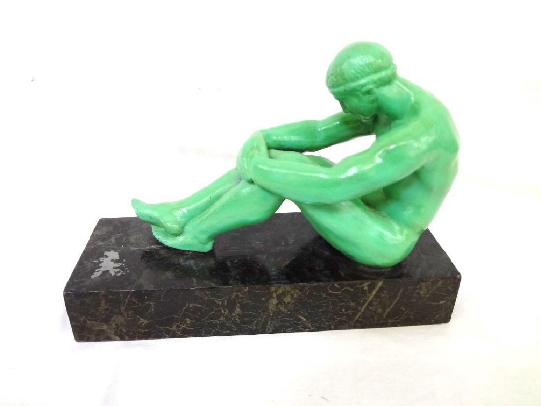 Art Deco Bronze Male Nude Bookend - 3