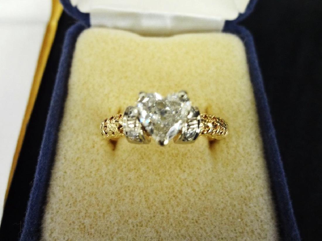 14K Yellow Gold Diamond Ring Heart Shaped Center