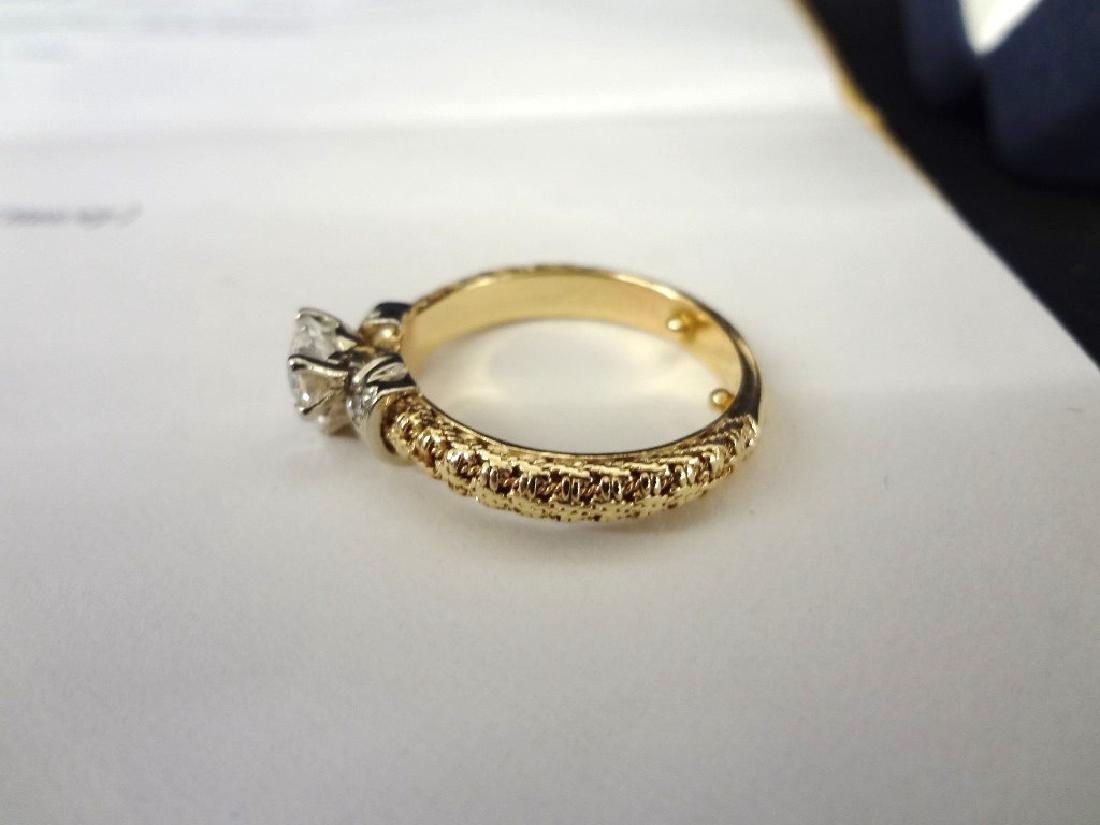 14K Yellow Gold Diamond Ring Heart Shaped Center - 2