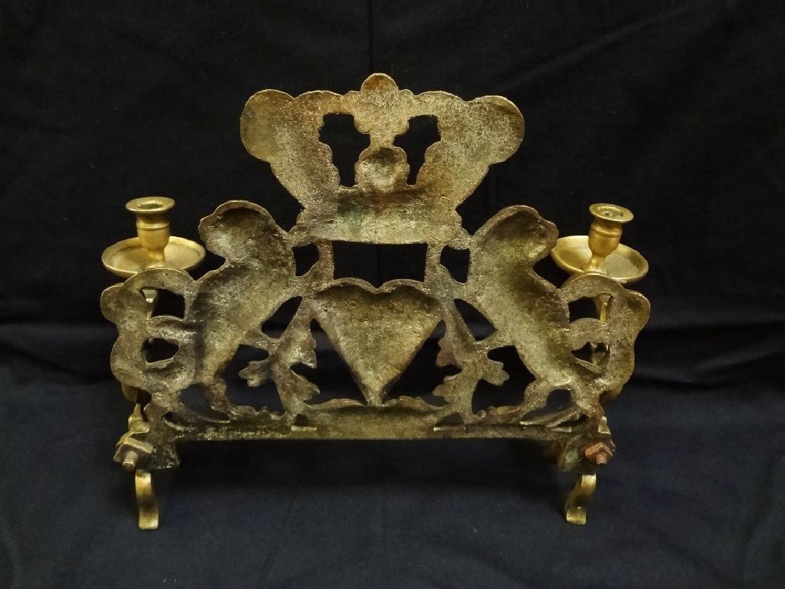 19th century Brass Menorah Lion Motif - 4