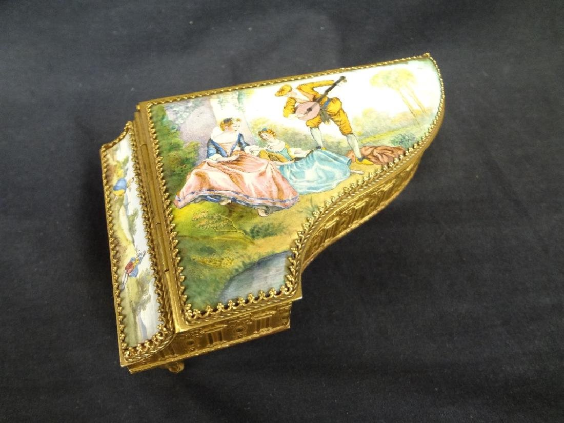 Hand Painted Austrian Piano Grand Piano Trinket Box
