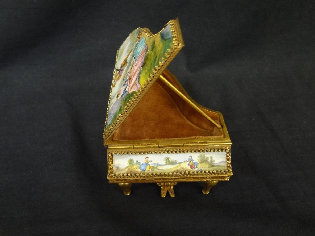 Hand Painted Austrian Piano Grand Piano Trinket Box - 3