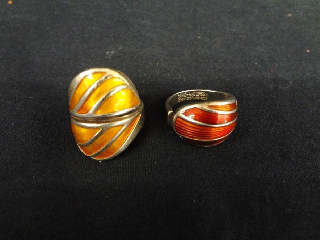 (2) David Anderson Sterling and Enamel Ladies Rings