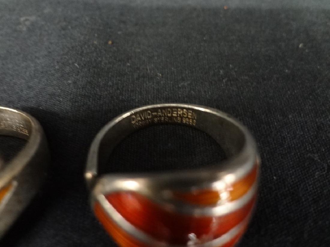 (2) David Anderson Sterling and Enamel Ladies Rings - 2