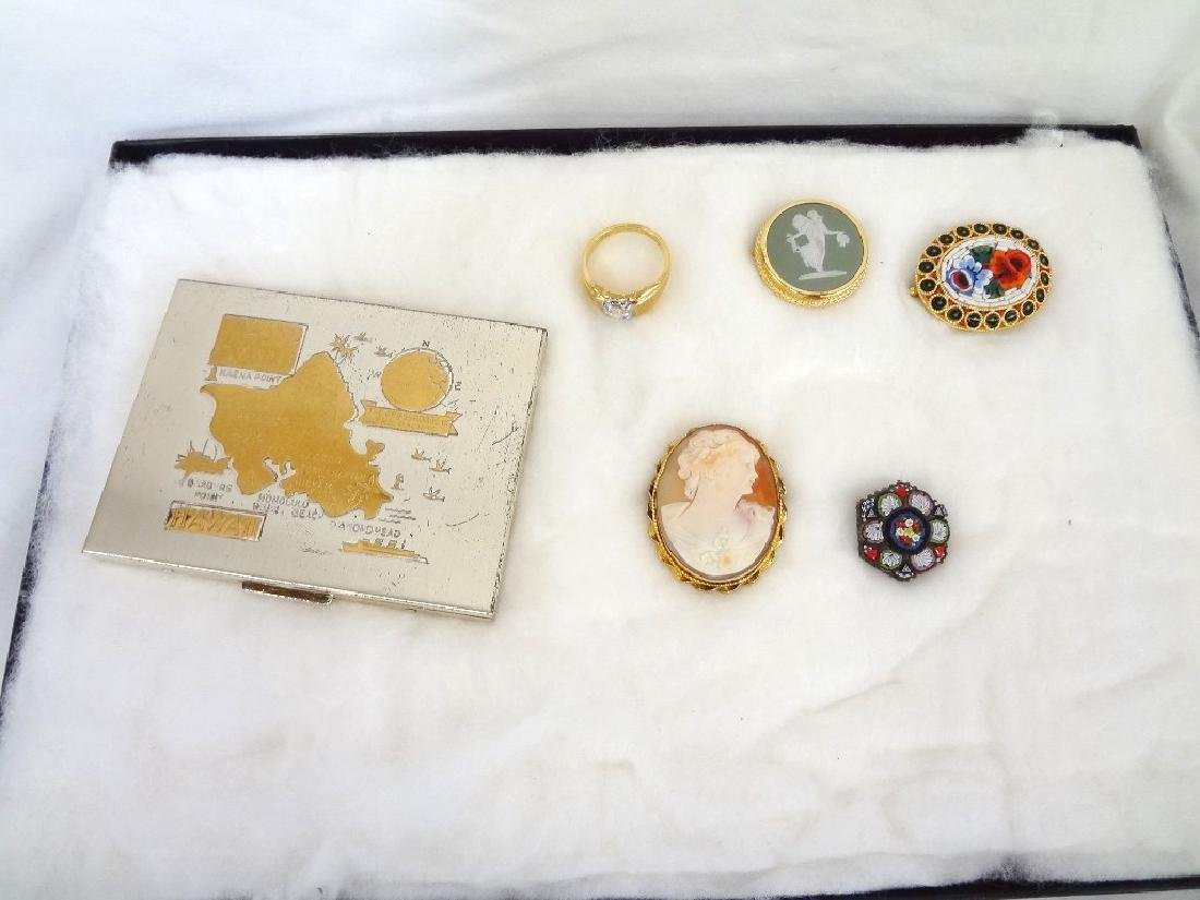 Group Jewelry Lot (6): Cameo, CZ Ring, Enamel Brooches,