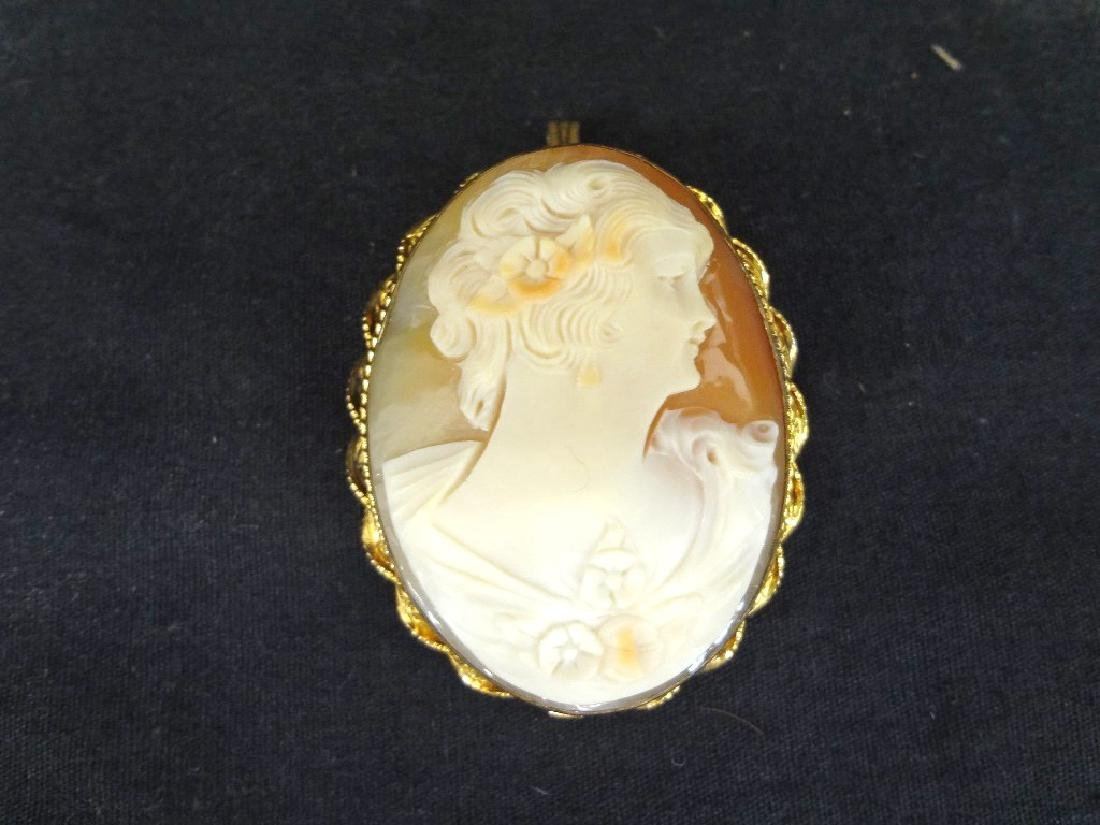 Group Jewelry Lot (6): Cameo, CZ Ring, Enamel Brooches, - 4