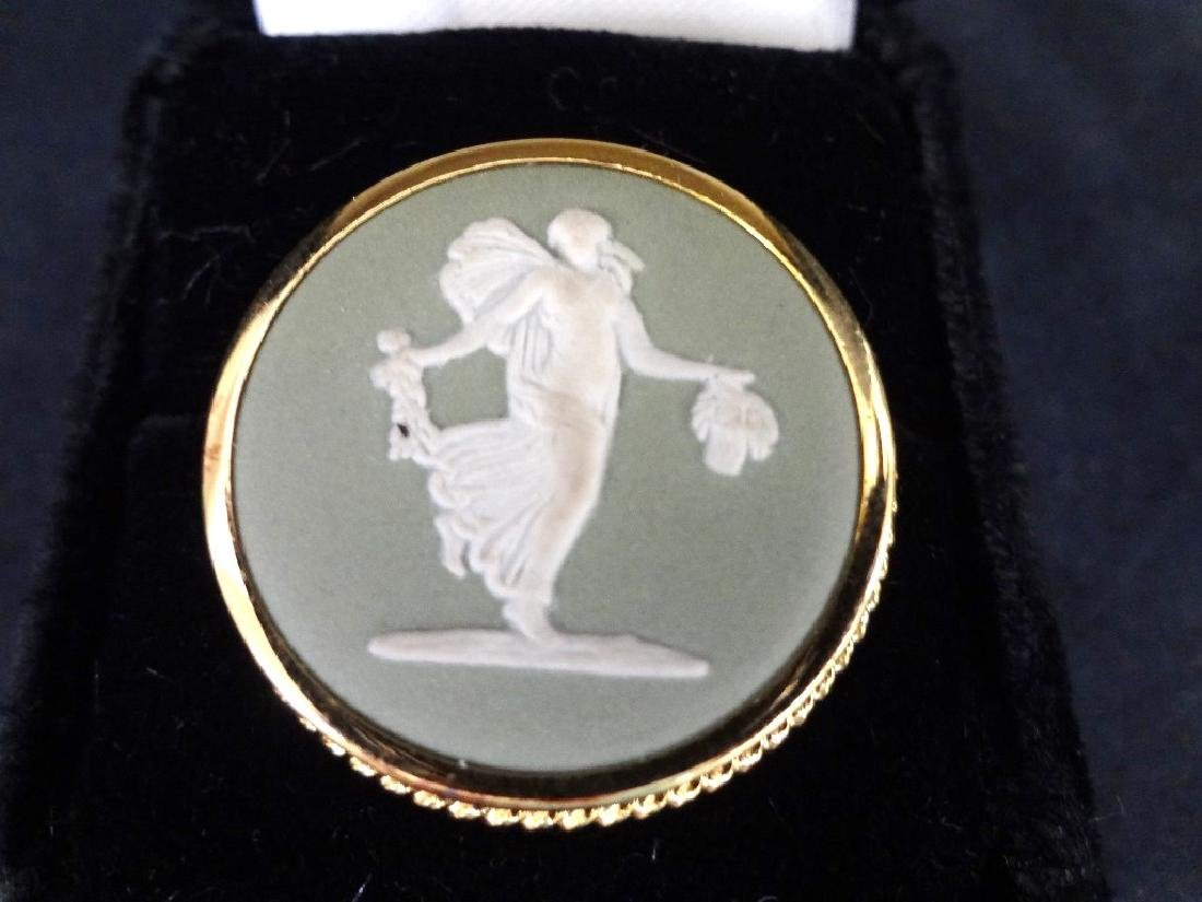 Group Jewelry Lot (6): Cameo, CZ Ring, Enamel Brooches, - 6