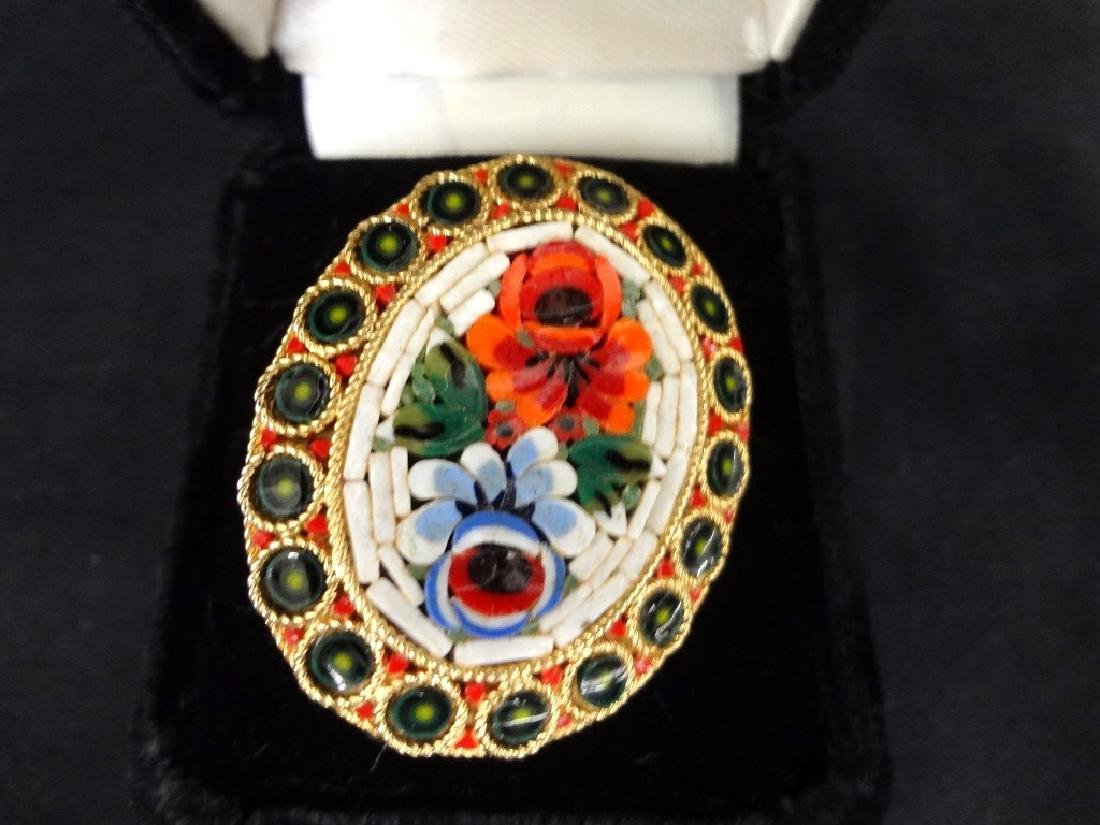 Group Jewelry Lot (6): Cameo, CZ Ring, Enamel Brooches, - 9