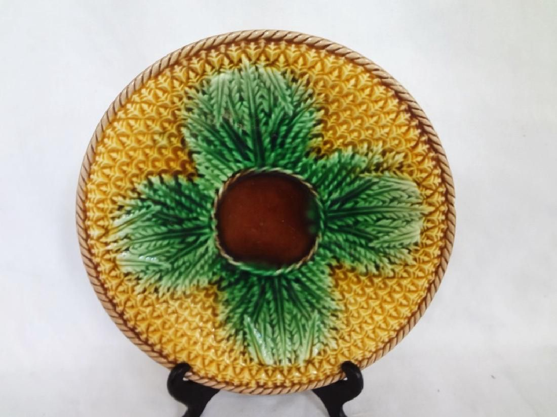 """Majolica """"Cabbage Leaf"""" Plate 9.25 inches Signed"""