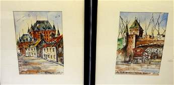 (2) French Ink and Watercolor Paris Street Scene