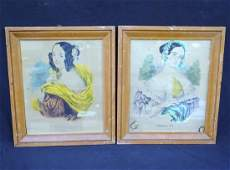 2 Early Frames with Currier Ladies Prints Caroline