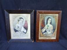 2 Grain Painted Frames with N Currier Lithographs
