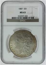 1887 Morgan Silver Dollar NGC MS63
