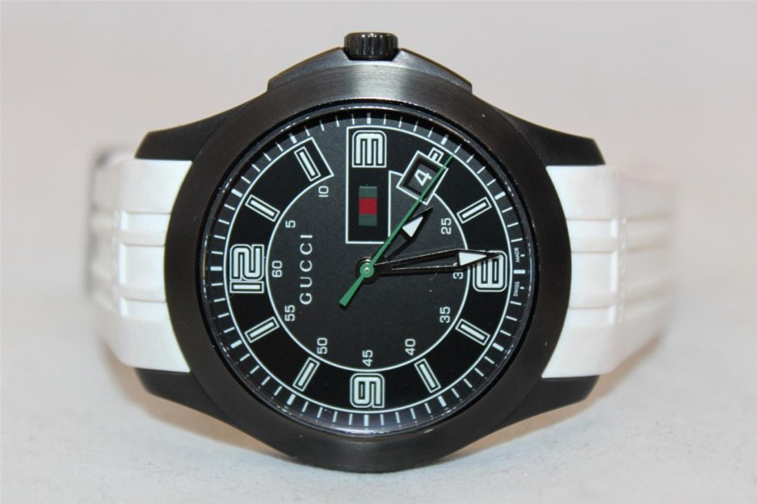 Gucci 126.2 Black PVD White Rubber Band Men's Watch