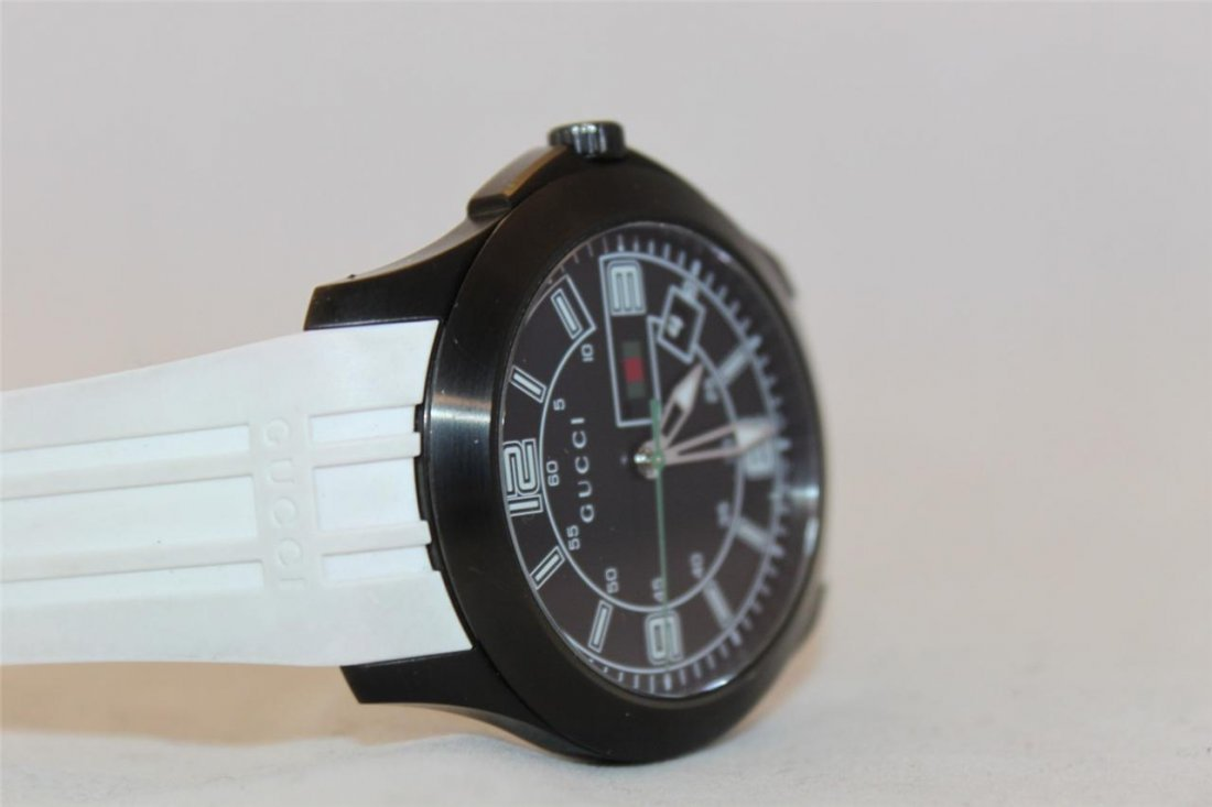 Gucci 126.2 Black PVD White Rubber Band Men's Watch - 2