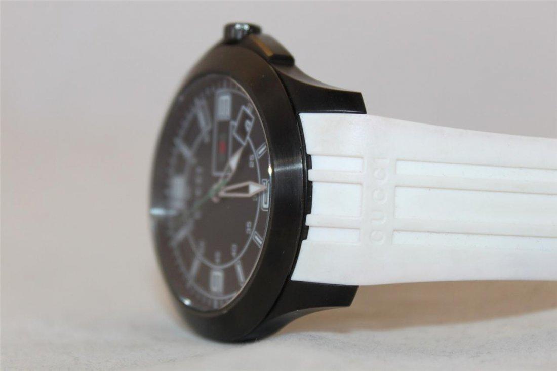 Gucci 126.2 Black PVD White Rubber Band Men's Watch - 3